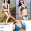 พร้อมส่ง ชุดว่ายน้ำบิกินี่ทูพีซ สีน้ำเงินกรมท่า แต่งลายเก๋สีส้มสดใส thumbnail 6