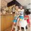 กางเกงคู่รัก ชาย + หญิงกางเกงขาสั้น แบบรูดซิบ ลายสีเรียบ สีฟ้า +พร้อมส่ง+ thumbnail 5