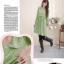 MK499 ชุดเดรสเปิดให้นมแฟชั่นเกาหลี โทนสีเขียว ลายจุดดอกไม้เล็ก แขนยาว thumbnail 1