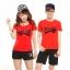 เสื้อยืดคู่รัก แฟชั่นคู่รัก ชาย + หญิง เสื้อยืดแขนสั้น แต่งสกรีนลายลูกศรสีแดง Love เสื้อสีแดง +พร้อมส่ง+ thumbnail 1