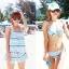 พร้อมส่ง ชุดว่ายน้ำคู่รัก ชุดว่ายน้ำบิกินี่ทูพีซ ลายกราฟฟิกโทนสีฟ้าเขียว พร้อมชุดเอี๊ยมกางเกงขาสั้นเนื้อเดียวกับชุดว่ายน้ำ thumbnail 2