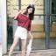 เสื้อแฟชั่นเกาหลี เว้าไหล่ ผูกใบว์ช่วงคอเสื้อ พิมพ์ลายจุดตามภาพ สีแดงเข้ม thumbnail 4