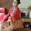 กระเป๋า PG美人 หนัง PU สีน้ำตาล แต่งโลโก้สีทองยี่ห้อ PGเก๋ๆ thumbnail 1