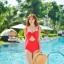 PRE ชุดว่ายน้ำวันพีซ เว้าใต้อก บราโครงแต่งโบว์ใหญ่สวยเก๋ สายปรับได้ตามสรีระ thumbnail 3