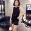 จั๊มสูทแฟชั่นเกาหลี แต่งคอเสื้อตามภาพ ช่วงตัวเสื้อและกางเกงทรงปล่อย สีดำ thumbnail 2