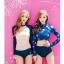 ชุดว่ายน้ำแขนยาว สีชมพูหวานต่อแขนสีน้ำเงินกรมท่า กางเกงขาสั้นน้ำเงินกรมท่าแต่งขอบชมพู thumbnail 3