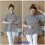 K114221 เสื้อคลุมท้องแฟชั่นเกาหลี โทนสีดำสลับ thumbnail 1