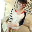 เสื้อคลุมแฟชั่นเกาหลี เย็บแต่งสีทูโทนสวยเก๋ น้ำเงิน-แดง thumbnail 1