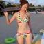 พร้อมส่ง ชุดว่ายน้ำคู่รัก บิกินี่ เซ็ต 3 ชิ้น colorful สีสันสดใส (บรา+บิกินี่+ผ้าคลุมซีทรู) thumbnail 3