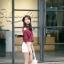 เสื้อแฟชั่นเกาหลี เว้าไหล่ ผูกใบว์ช่วงคอเสื้อ พิมพ์ลายจุดตามภาพ สีแดงเข้ม thumbnail 3