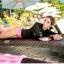 ชุดว่ายน้ำแขนยาวสีดำสกรีนลาย บิกินี่สีชมพู thumbnail 1