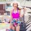 พร้อมส่ง ชุดว่ายน้ำบิกินี่เอวสูงวินเทจ บราชมพูบานเย็น กางเกงลายดอกไม้สวยๆ thumbnail 1