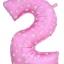 """ลูกโป่งฟอยล์รูปตัวเลข 2 สีชมพูพิมพ์ลายหัวใจ ไซส์จัมโบ้ 40 นิ้ว - Number 2 Shape Foil Balloon Size 40"""" Pink Color printing Heart thumbnail 1"""
