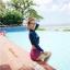 ชุดว่ายน้ำแขนยาว เสื้อสีน้ำเงิน กางเกงเอวสูงชมพูลายสวย thumbnail 2