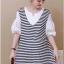 เดรสคลุมท้องแฟชั่นเกาหลี โทนสีขาวสลับดำ thumbnail 2