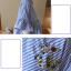 K114222 เสื้อคลุมท้องแฟชั่นเกาหลี โทนสีฟ้าสลับขาว thumbnail 8