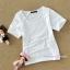 เสื้อยืดคลุมท้องคอกลม แขนสั้น : สีขาว รหัส SH015 thumbnail 1