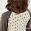 เสื้อคลุมท้องแขนยาว ลายโบว์ : สีครีม-เทา รหัส SH129 thumbnail 2