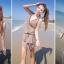 PRE ชุดว่ายสไตล์เจ้าสาว ชุดว่ายน้ำบิกินี่สายคล้องคอ บราอกจับไขว้ดีเทลสวยเก๋ พร้อมเสื้อคลุมตัวยาว+ผ้าคลุม thumbnail 14