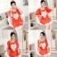 เสื้อคลุมท้องแขนสั้น ลายแมวยิ้มติดโบว์ White Cat : สีส้ม รหัส SH190 thumbnail 3