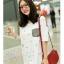 เสื้อคลุมท้องแขนสั้น กระเป๋าลายสก็อต : สีขาว รหัส SH207 thumbnail 4