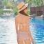 พร้อมส่ง ชุดว่ายน้ำเอวสูงวินเทจ ลายดอกไม้สวยโทนชมพู บราผูกหลัง ปรับได้ตามสรีระ thumbnail 3