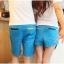 กางเกงคู่รัก ชาย + หญิงกางเกงขาสั้น แบบรูดซิบ ลายสีเรียบ สีฟ้า +พร้อมส่ง+ thumbnail 4