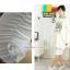 กางเกงเลคกิ้งขาสี่ส่วนแบบยางยืด ประดับมุก : สีขาว รหัส PN139 thumbnail 2
