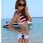 พร้อมส่ง ชุดว่ายน้ำ Bikini ผูกข้าง บราลายขวางสวย กางเกงสีขาวสายเชือกผูกข้างและมีซับในทั้งตัว thumbnail 1