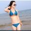 พร้อมส่ง ชุดว่ายน้ำบิกินี่ทูพีซ สีน้ำเงินกรมท่า แต่งลายเก๋สีส้มสดใส thumbnail 2