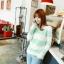 เสื้อกันหนาวแขนยาว ขนแกะ แต่งลายเขียวขาว +พร้อมส่ง+ thumbnail 5