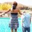 PRE ชุดว่ายน้ำคู่รัก ชุดว่ายน้ำบิกินี่ ลายโบฮีเมียนสีกรมท่า สายคล้องคอ พร้อมชุดคลุมลายสวย thumbnail 4