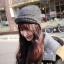 หมวกไหมพรมแฟชั่นเกาหลีพร้อมส่ง ทรงดีไซต์เก๋ หมวกสีเทา แต่งกำบังด้านหน้า มีสายห้อยยาว 2 ข้าง thumbnail 1