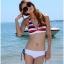 พร้อมส่ง ชุดว่ายน้ำ Bikini ผูกข้าง บราลายขวางสวย กางเกงสีขาวสายเชือกผูกข้างและมีซับในทั้งตัว thumbnail 2