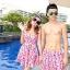 PRE ชุดว่ายน้ำคู่รัก หญิงเซ็ต 3 ชิ้น โทนชมพู บรา กางเกงแต่งระบาย พร้อมชุดคลุมสวย thumbnail 1