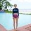 ชุดว่ายน้ำแขนยาว เสื้อสีน้ำเงิน กางเกงเอวสูงชมพูลายสวย thumbnail 5