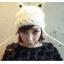 หมวกไหมพรมแฟชั่นเกาหลีพร้อมส่ง ทรงดีไซต์เก๋ ทรงหูแมว ลายกากบาท ปิดหูแต่งเชือกห้อย 2 ข้าง สีขาว thumbnail 5