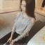เสื้อแขนยาวแฟชั่นเกาหลี คอกลม แต่งช่วงแขนแบบสานสวยเก๋ สีเทา thumbnail 2