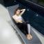 พร้อมส่ง ชุดว่ายน้ำแขนยาว+ขายาว เซ็ต 4 ชิ้น สีดำแต่งลายเส้นสลับสีขาวดำ thumbnail 3