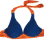 พร้อมส่ง ชุดว่ายน้ำบิกินี่ทูพีซ สีน้ำเงินกรมท่า แต่งลายเก๋สีส้มสดใส thumbnail 8