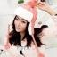 หมวกแฟชั่นเกาหลีพร้อมส่ง ปิดหูครอบหัว เอสกิโม่ปิดหูมีจุกด้านบน กันหนาวหิมะ สีชมพู thumbnail 1