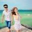 เดรสคู่รักเกาหลี แฟชั่นคู่รัก ชายเสื้อคอปกแขนสั้น หญิงเดรสคอปกแขนกุด สีขาวแต่งลาย +พร้อมส่ง+ thumbnail 4