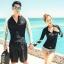 ชุดว่ายน้ำแขนยาว เสื้อสีดำซิปหน้า+กางเกงขาสั้น ลายสวย เซ็ต 2 ชิ้น thumbnail 4