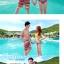 PRE ชุดว่ายน้ำคู่รัก ชุดว่ายน้ำบิกินี่ สายคล้องคอ พร้อมชุดคลุมแซกลายโบฮีเมียนสวยเก๋ thumbnail 4