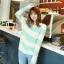 เสื้อกันหนาวแขนยาว ขนแกะ แต่งลายเขียวขาว +พร้อมส่ง+ thumbnail 6