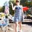 PRE ชุดว่ายน้ำคู่รัก ชุดว่ายน้ำบิกินี่ ลายโบฮีเมียนสีกรมท่า สายคล้องคอ พร้อมชุดคลุมลายสวย thumbnail 2
