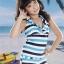 PRE ชุดว่ายน้ำเด็กผู้หญิง ลายทาง เสื้อ กางเกงขาสั้น thumbnail 2