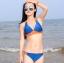 พร้อมส่ง ชุดว่ายน้ำบิกินี่ทูพีซ สีน้ำเงินกรมท่า แต่งลายเก๋สีส้มสดใส thumbnail 7