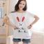 เสื้อคลุมท้อง ลายกระต่ายหน้ายิ้มหูแดง : สีขาว รหัส SH153 thumbnail 2
