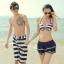 PRE ชุดว่ายน้ำคู่รัก ชุดว่ายน้ำบิกินี่ทูพีซ เซ็ต 4 ชิ้น สายคล้องคอ ลายทางสีน้ำเงินกรมท่าสวย พร้อมชุดคลุมเสื้อมีฮู้ด กระโปรงระบาย thumbnail 1